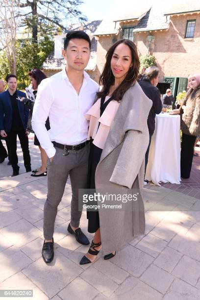 Actor Simu Liu and Amanda Brugel attend the Canadian Brunch Reception Honoring Canadian Nominees For The 89th Academy Awards And The 32nd Film...