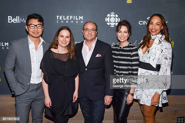 Actor Simu Liu Beth Janson CEO Academy of Canadian Cinema Television Martin Katz Chair Academy of Canadian Cinema Television actress Maxim Roy and...