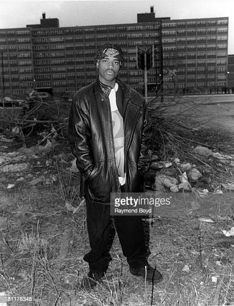 Actor singer and rapper Larenz Tate poses for photos on location in Chicago Illinois in JANUARY 1994
