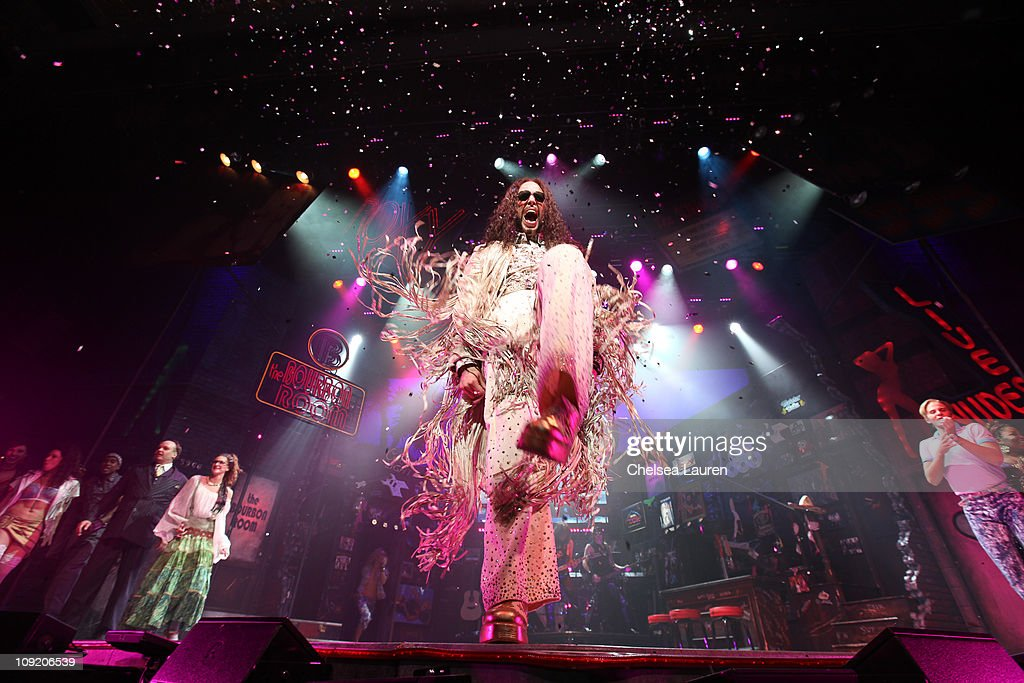 Actor / singer Nick Cordero with the national tour of Rock of Ages at the curtain call of Opening Night of 'Rock of Ages' at the Pantages Theatre on February 15, 2011 in Hollywood, California.
