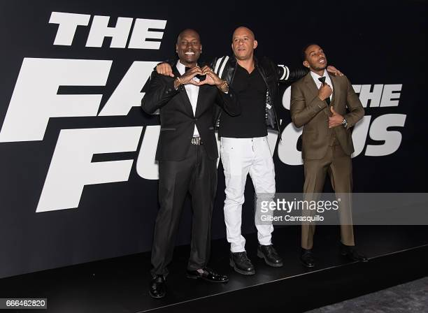 Actor/ singersongwriter Tyrese Gibson actor Vin Diesel and actor/hip hop recording artist Ludacris attend 'The Fate Of The Furious' New York Premiere...