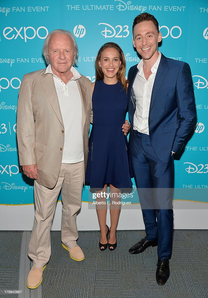 Actor Sir <a gi-track='captionPersonalityLinkClicked' href=/galleries/search?phrase=Anthony+Hopkins&family=editorial&specificpeople=202646 ng-click='$event.stopPropagation()'>Anthony Hopkins</a>, actress <a gi-track='captionPersonalityLinkClicked' href=/galleries/search?phrase=Natalie+Portman&family=editorial&specificpeople=202035 ng-click='$event.stopPropagation()'>Natalie Portman</a> and actor <a gi-track='captionPersonalityLinkClicked' href=/galleries/search?phrase=Tom+Hiddleston&family=editorial&specificpeople=4686407 ng-click='$event.stopPropagation()'>Tom Hiddleston</a> of 'Thor: The Dark World' attend 'Let the Adventures Begin: Live Action at The Walt Disney Studios' presentation at Disney's D23 Expo held at the Anaheim Convention Center on August 10, 2013 in Anaheim, California.