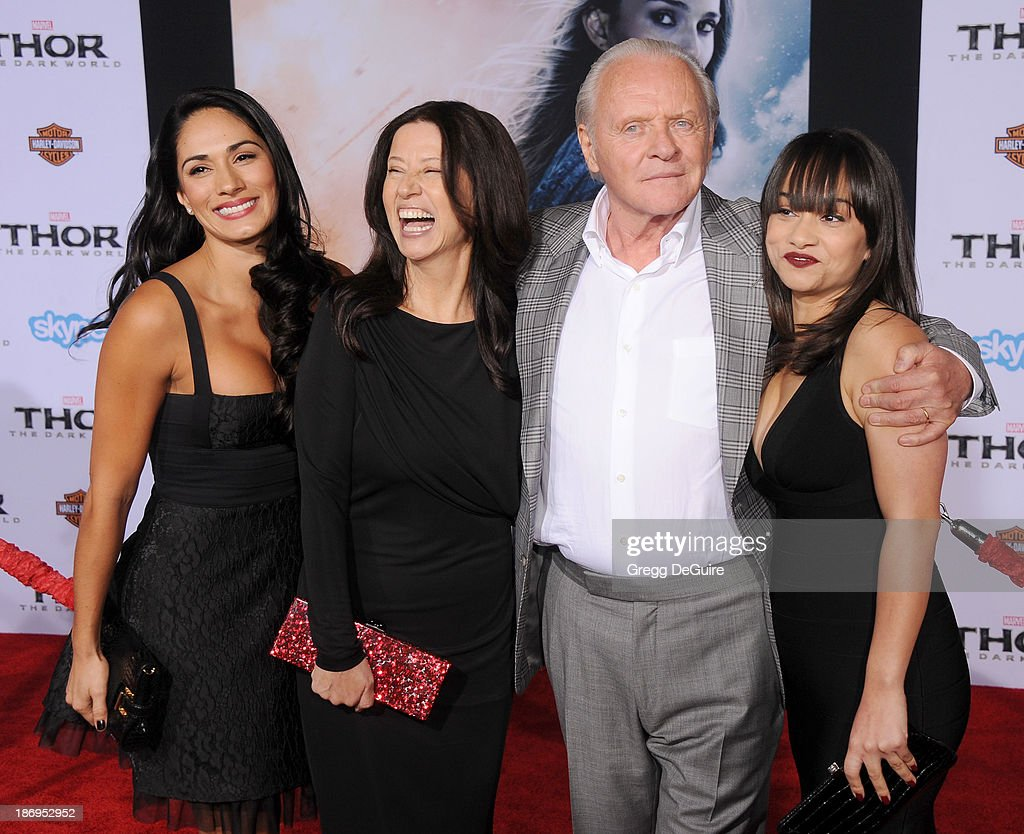 Actor Sir <a gi-track='captionPersonalityLinkClicked' href=/galleries/search?phrase=Anthony+Hopkins&family=editorial&specificpeople=202646 ng-click='$event.stopPropagation()'>Anthony Hopkins</a> and <a gi-track='captionPersonalityLinkClicked' href=/galleries/search?phrase=Stella+Arroyave&family=editorial&specificpeople=235767 ng-click='$event.stopPropagation()'>Stella Arroyave</a> (2nd from left) arrive at the Los Angeles premiere of 'Thor: The Dark World' at the El Capitan Theatre on November 4, 2013 in Hollywood, California.