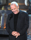 Actor Sir Anthony Hopkins speaks onstage during Spike TV's 'Scream 2010' at The Greek Theatre on October 16 2010 in Los Angeles California