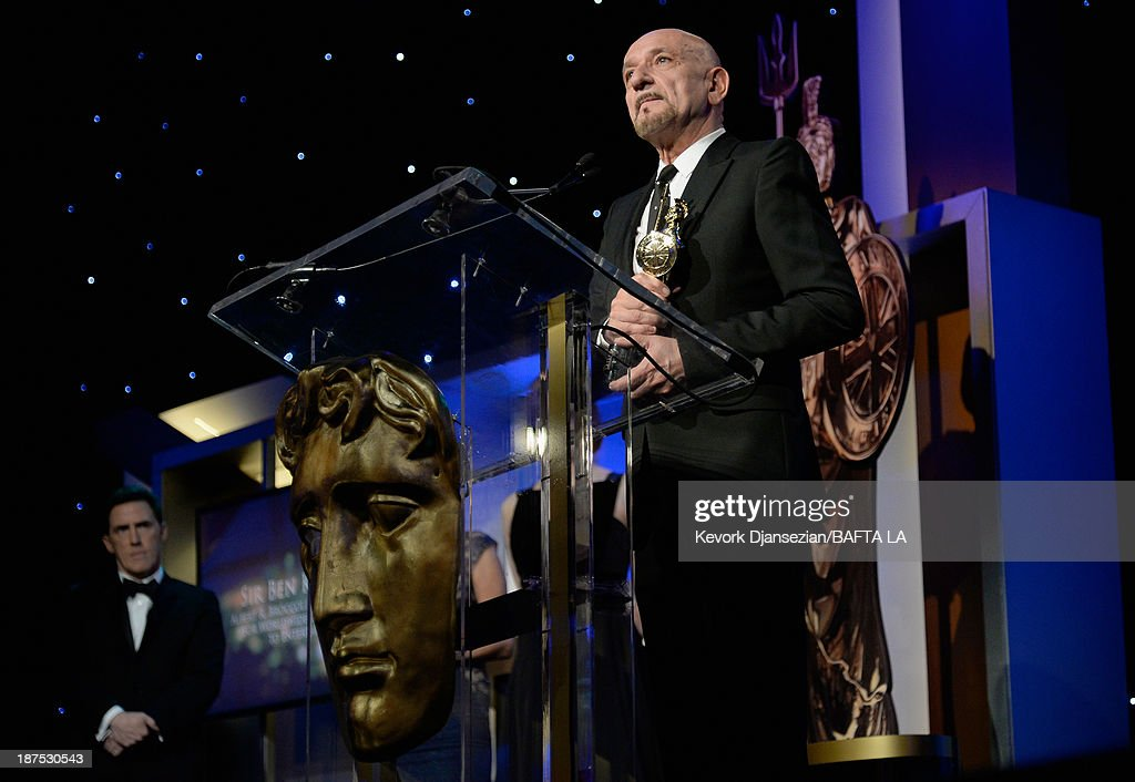 Actor <a gi-track='captionPersonalityLinkClicked' href=/galleries/search?phrase=Sir+Ben+Kingsley&family=editorial&specificpeople=699878 ng-click='$event.stopPropagation()'>Sir Ben Kingsley</a> accepts the Albert R. Broccoli Britannia Award for Worldwide Contribution to Entertainment onstage during the 2013 BAFTA LA Jaguar Britannia Awards presented by BBC America at The Beverly Hilton Hotel on November 9, 2013 in Beverly Hills, California.