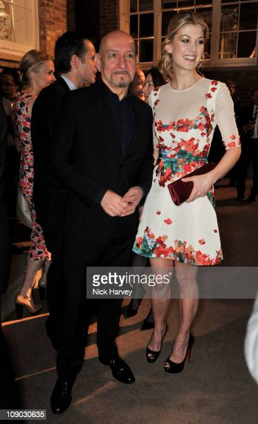 Actor Sir Ben Kingsley and actress Rosamund Pike attend The British Academy Film Awards nominees party at Asprey on February 12 2011 in London England