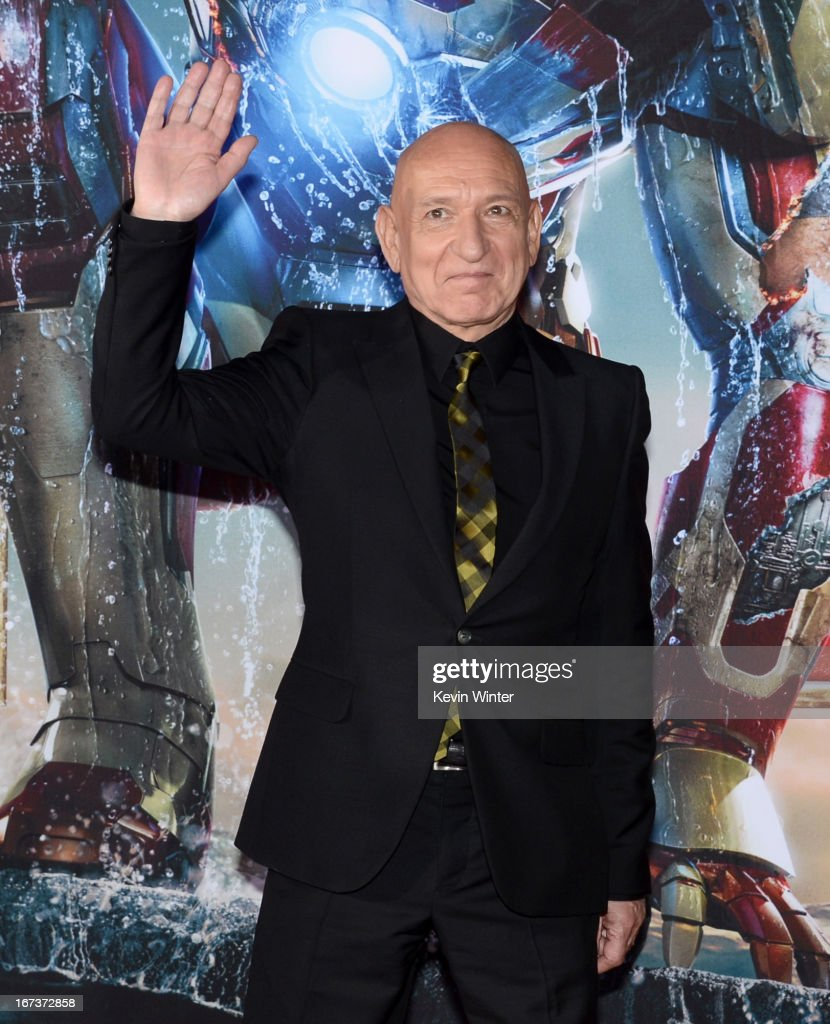 Actor <a gi-track='captionPersonalityLinkClicked' href=/galleries/search?phrase=Sir+Ben+Kingsley&family=editorial&specificpeople=699878 ng-click='$event.stopPropagation()'>Sir Ben Kingsley</a> arrives at the premiere of Walt Disney Pictures' 'Iron Man 3' at the El Capitan Theatre on April 24, 2013 in Hollywood, California.