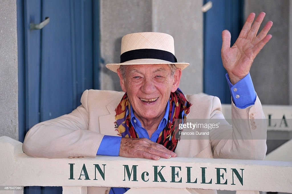 Actor Sir <a gi-track='captionPersonalityLinkClicked' href=/galleries/search?phrase=Ian+McKellen&family=editorial&specificpeople=202983 ng-click='$event.stopPropagation()'>Ian McKellen</a> attends the unveiling of his dedicated beach locker room on the Promenade des Planches during the 41st Deauville American Film Festival on September 10, 2015 in Deauville, France.