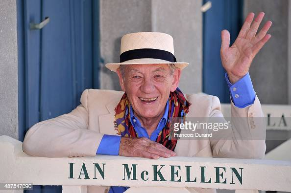 Actor Sir Ian McKellen attends the unveiling of his dedicated beach locker room on the Promenade des Planches during the 41st Deauville American Film...
