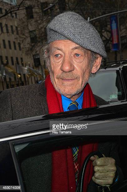 Actor Sir Ian McKellen sighted leaving the 'Today Show' taping at the NBC Rockefeller Center Studios on December 2 2013 in New York City