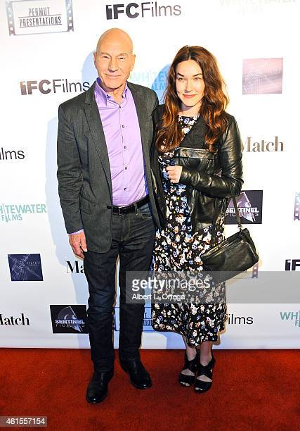 Actor Sir Patrick Stewart and wife/singer Sunny Ozell arrive for the Premiere Of 'Match' held at Laemmle Music Hall on January 14 2015 in Beverly...