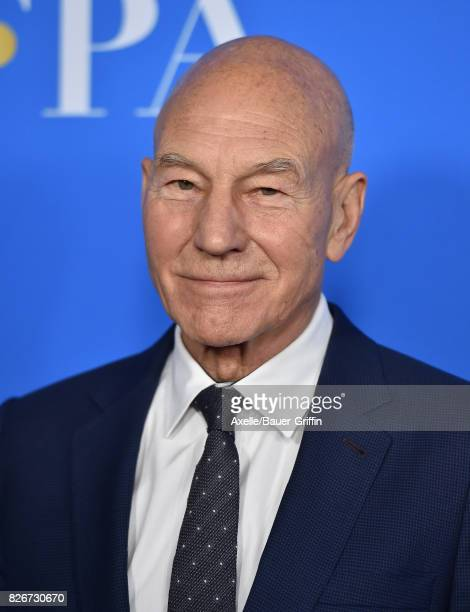 Actor Sir Patrick Stewart arrives at the Hollywood Foreign Press Association's Grants Banquet at the Beverly Wilshire Four Seasons Hotel on August 2...