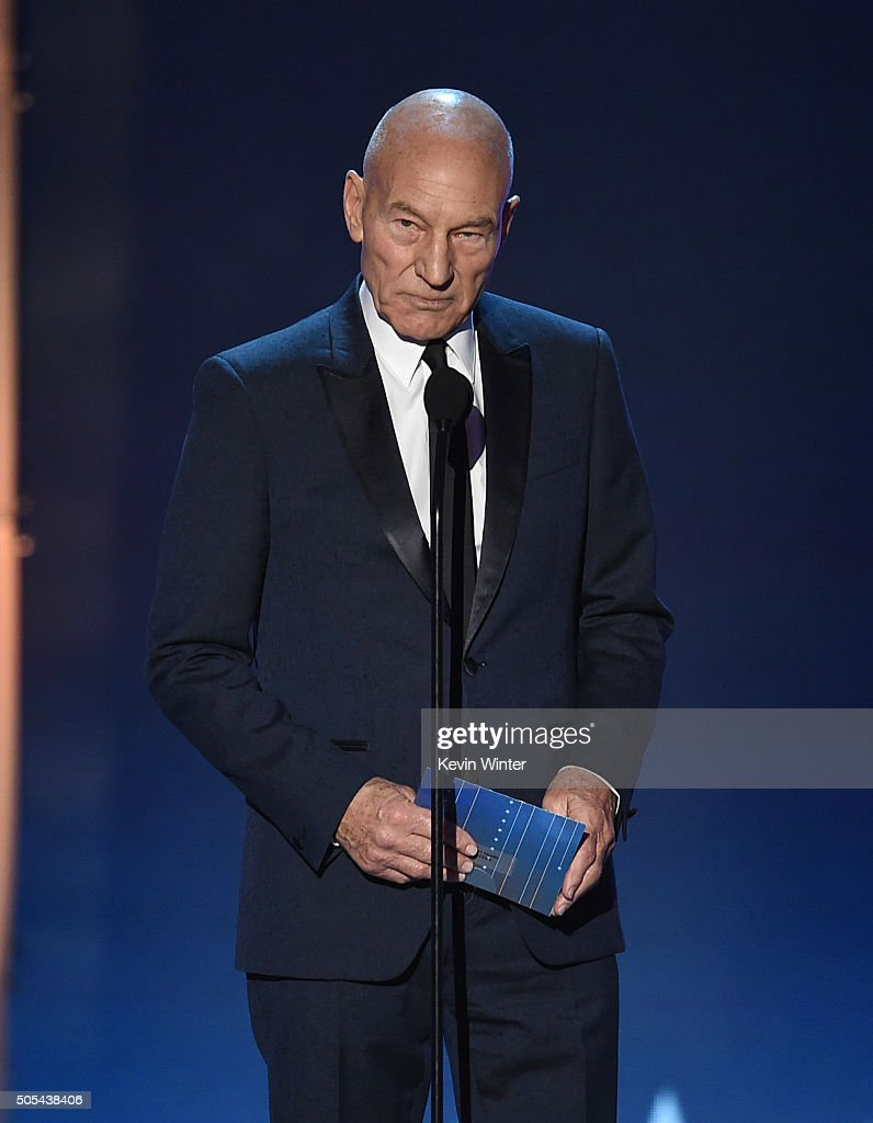 Actor Sir Patrick Stewart speaks onstage during the 21st Annual Critics' Choice Awards at Barker Hangar on January 17, 2016 in Santa Monica, California.