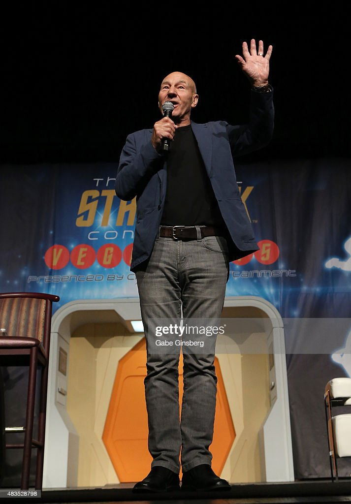 Actor Sir Patrick Stewart waves to the audience as he speaks during the 14th annual official Star Trek convention at the Rio Hotel & Casino on August 9, 2015 in Las Vegas, Nevada.