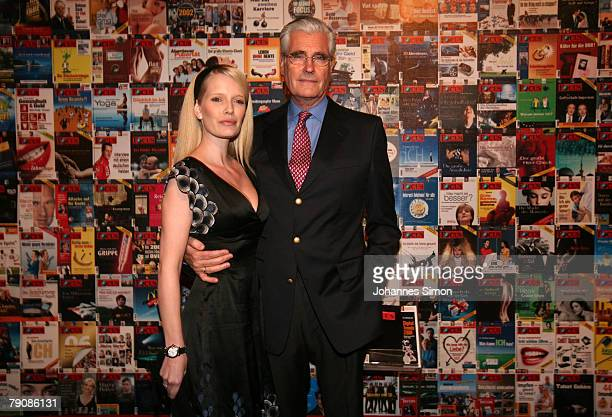 Actor Sky du Mont and his wife Mirja attend Focus 15th birthday celebration party at Reithalle on January 17 2007 in Munich Germany The weekly news...