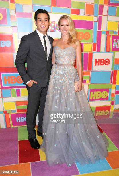 Actor Skylar Astin and actress Anna Camp attend HBO's 2014 Emmy after party at The Plaza at the Pacific Design Center on August 25 2014 in Los...