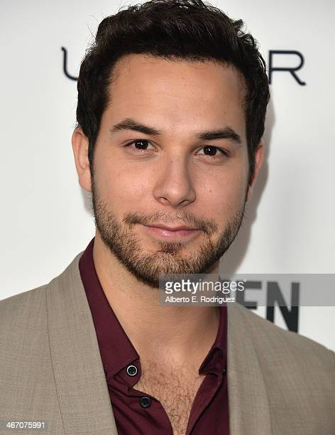 Actor Skylar Astin arrives to the premiere of 'Cavemen' at the ArcLight Cinemas on February 5 2014 in Hollywood California