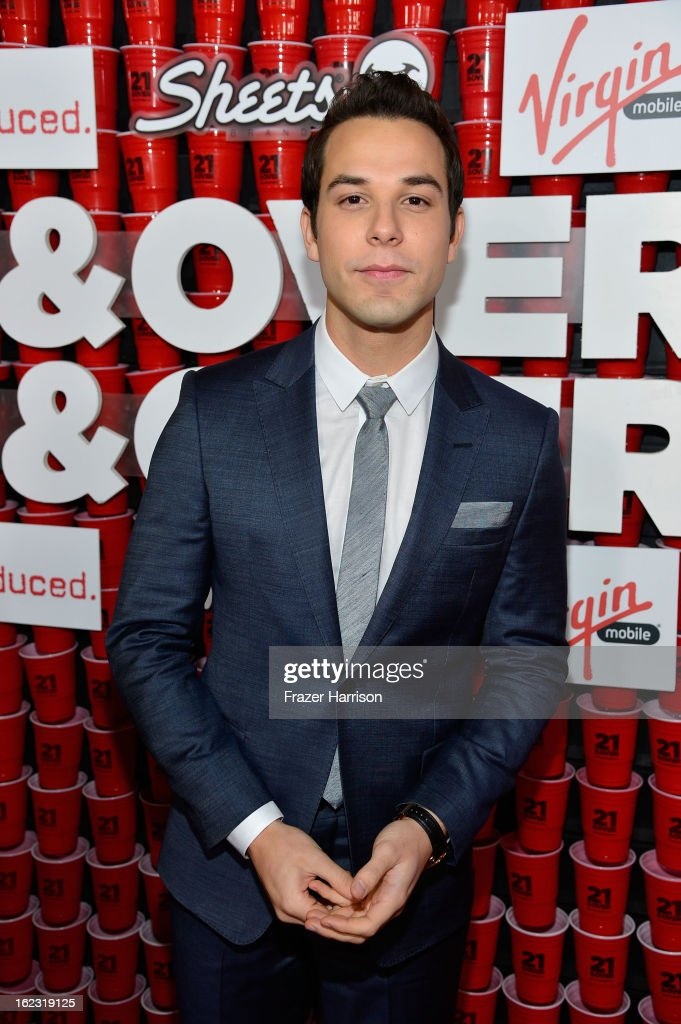 Actor <a gi-track='captionPersonalityLinkClicked' href=/galleries/search?phrase=Skylar+Astin&family=editorial&specificpeople=4463360 ng-click='$event.stopPropagation()'>Skylar Astin</a> attends Relativity Media's '21 and Over' premiere at Westwood Village Theatre on February 21, 2013 in Westwood, California.