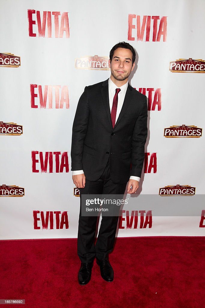 Actor <a gi-track='captionPersonalityLinkClicked' href=/galleries/search?phrase=Skylar+Astin&family=editorial&specificpeople=4463360 ng-click='$event.stopPropagation()'>Skylar Astin</a> attends the 'Evita' Los Angeles opening night at the Pantages Theatre on October 24, 2013 in Hollywood, California.
