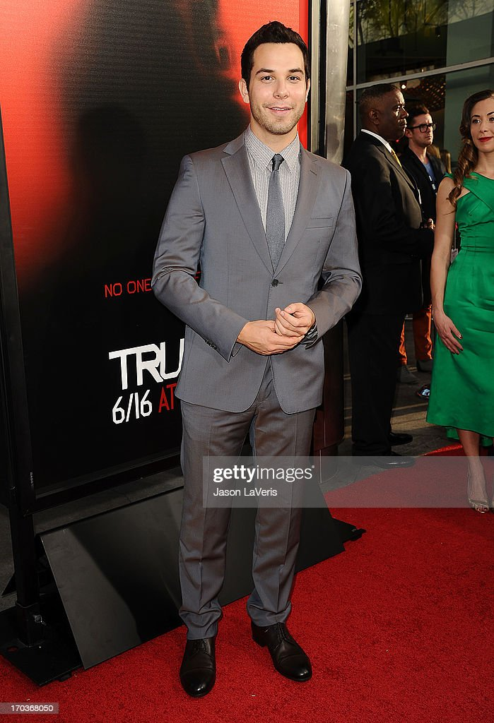 Actor Skylar Astin attends the season 6 premiere of HBO's 'True Blood' at ArcLight Cinemas Cinerama Dome on June 11, 2013 in Hollywood, California.