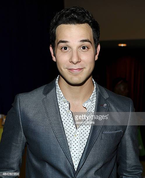 Actor Skylar Astin poses in the green room at the 2015 Teen Choice Awards at Galen Center on August 16 2015 in Los Angeles California