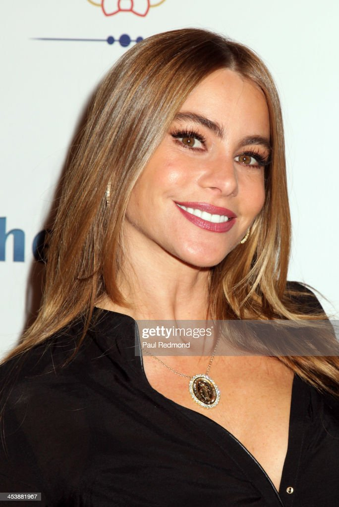 Actor <a gi-track='captionPersonalityLinkClicked' href=/galleries/search?phrase=Sofia+Vergara&family=editorial&specificpeople=214702 ng-click='$event.stopPropagation()'>Sofia Vergara</a> arrives at 'Tie The Knot' Store Grand Opening with founder Jesse Tyler Ferguson at The Beverly Center on December 5, 2013 in Los Angeles, California.