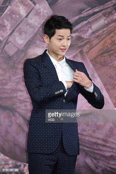 Actor Song Joongki attends television drama 'Descendants of the Sun' press conference on April 5 2016 in Hong Kong Hong Kong