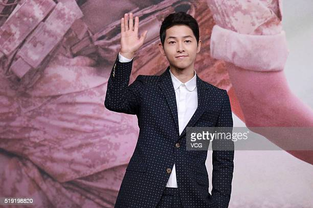 Actor Song Joongki attends television drama 'Descendants of the Sun' press conference on April 5 2016 in Hong Kong Hong Kong