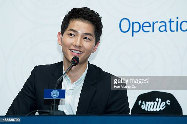 Actor Song JoongKi attends the 2015 'FC Smile' Inauguration Ceremony on August 10 2015 in Seoul South Korea