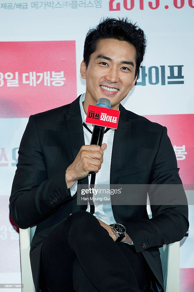 Actor Song Seung-Heon attends the press conference for 'Miss Wife' at MEGA Box on July 13, 2015 in Seoul, South Korea. The film will open on August 13, in South Korea.