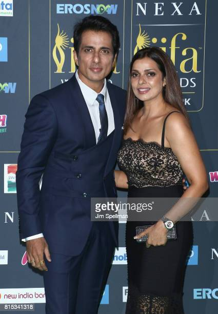 Actor Sonu Sood and guest attend the 2017 International Indian Film Academy Festival at MetLife Stadium on July 14 2017 in East Rutherford New Jersey