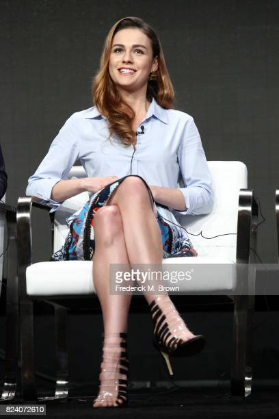 Actor Sophie Skelton of 'Outlander' speaks onstage during the Starz portion of the 2017 Summer Television Critics Association Press Tour at The...