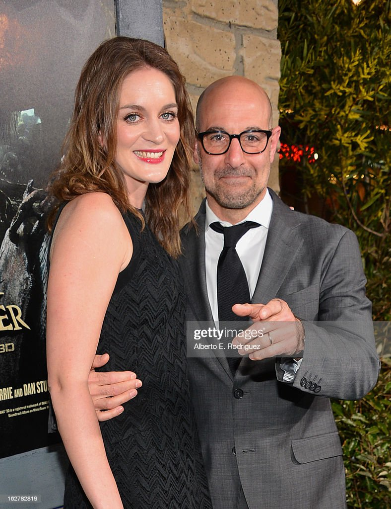 Actor <a gi-track='captionPersonalityLinkClicked' href=/galleries/search?phrase=Stanley+Tucci&family=editorial&specificpeople=209366 ng-click='$event.stopPropagation()'>Stanley Tucci</a> (R) and Felicity Blunt attend the premiere of New Line Cinema's 'Jack The Giant Slayer' at TCL Chinese Theatre on February 26, 2013 in Hollywood, California.