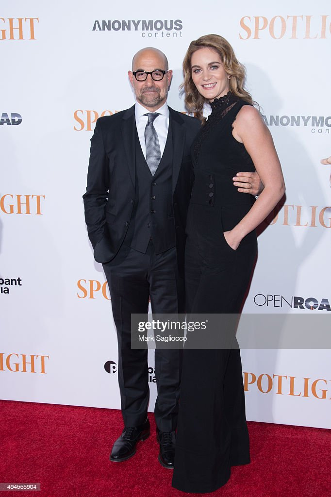 Actor Stanley Tucci (L) and Felicity Blunt attend the 'Spotlight' New York premiere at Ziegfeld Theater on October 27, 2015 in New York City.