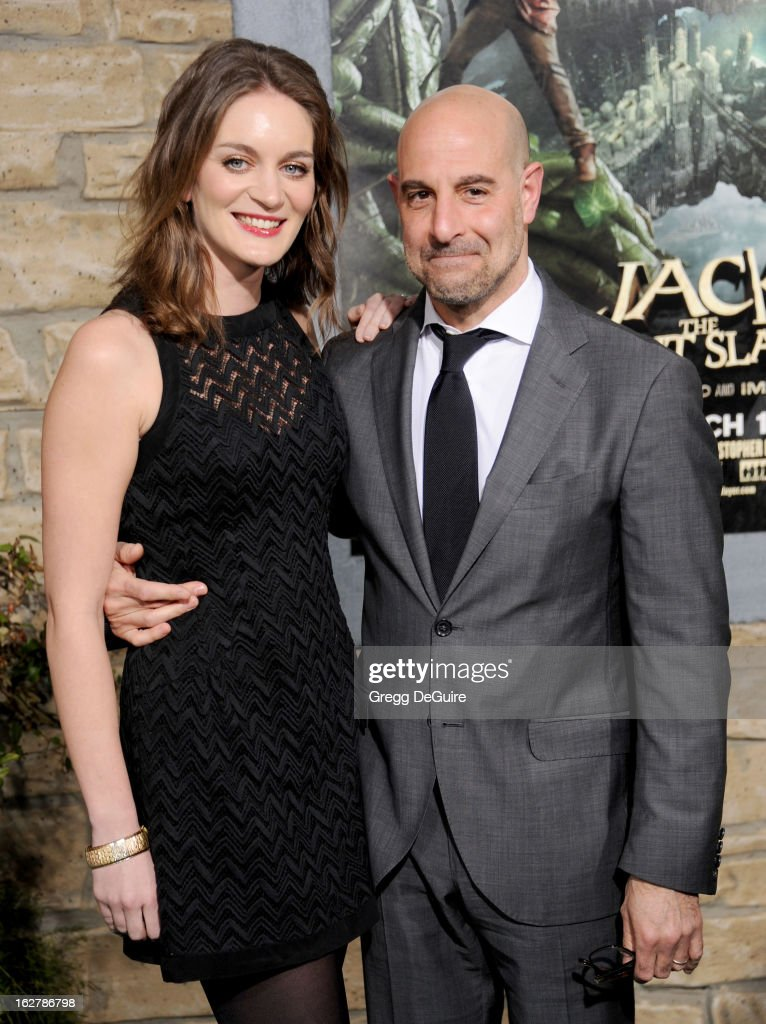 Actor Stanley Tucci (R) and wife Felicity Blunt arrive at the Los Angeles premiere of 'Jack The Giant Slayer' at TCL Chinese Theatre on February 26, 2013 in Hollywood, California.
