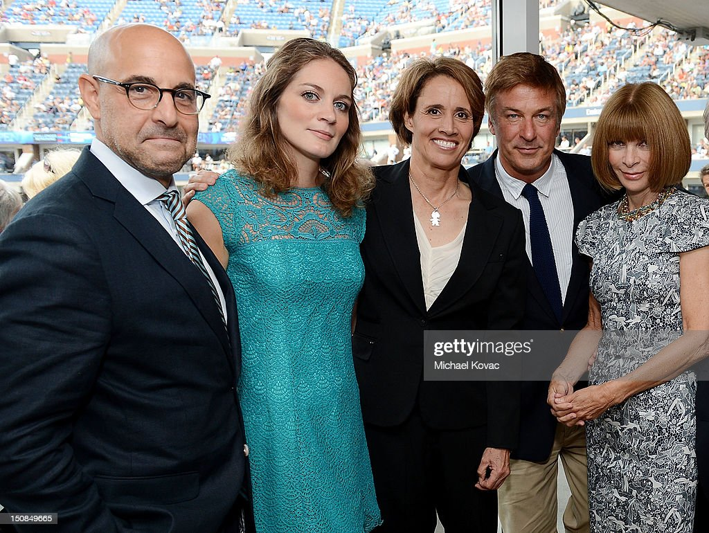 Actor Stanley Tucci Felicity Blunt sportscaster Mary Carillo actor Alec Baldwin and Vogue editorinchief Anna Wintour attend Moet Chandon Toasts The...