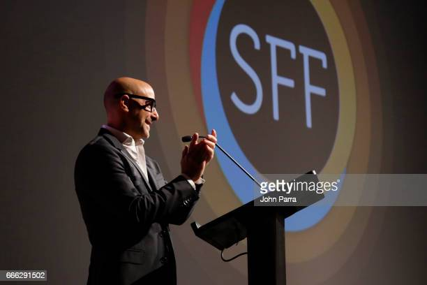 Actor Stanley Tucci speaks on stage at the closing night ceremony and screening of 'Paris Can Wait' during the 2017 Sarasota Film Festival on April 8...