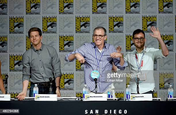 Actor Stark Sands and producers Kevin Falls and Max Borenstein attend the 'Minority Report' panel during ComicCon International 2015 at the San Diego...