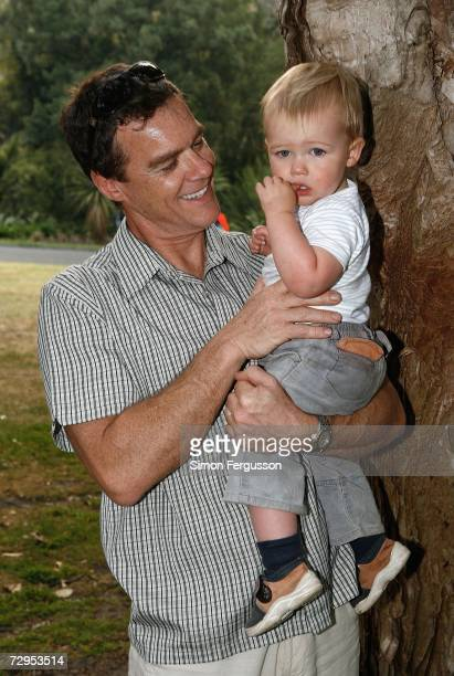 Actor Stefan Dennis and his son Declan attend 'The Wind in the Willows' opening night in Melbournes Botanical Gardens on January 9 2007 in Melbourne...