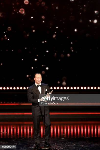 Actor Stefano Accorsi receives the Best Actor Award during the 61 David Di Donatello ceremony on March 27 2017 in Rome Italy