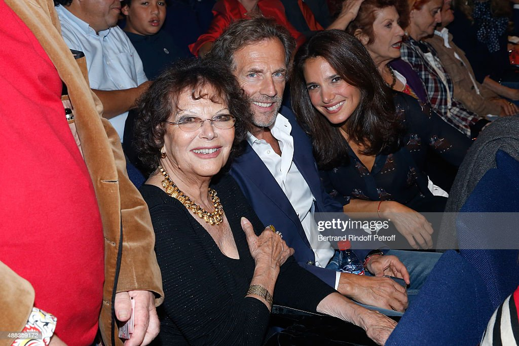 Actor Stepahne Freiss sitting between his wife Ursula (R) and Actress <a gi-track='captionPersonalityLinkClicked' href=/galleries/search?phrase=Claudia+Cardinale&family=editorial&specificpeople=208838 ng-click='$event.stopPropagation()'>Claudia Cardinale</a> attend the Concert of singer Charles Aznavour at Palais des Sports on September 15, 2015 in Paris, France.
