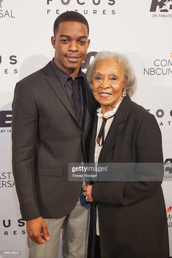 Actor Stephan James (L) and Gloria Owens, daughter of four-time Olympic gold medalist Jessie Owens, attend the Washington, DC premiere of 'Race' at The Newseum on February 3, 2016 in Washington, DC.