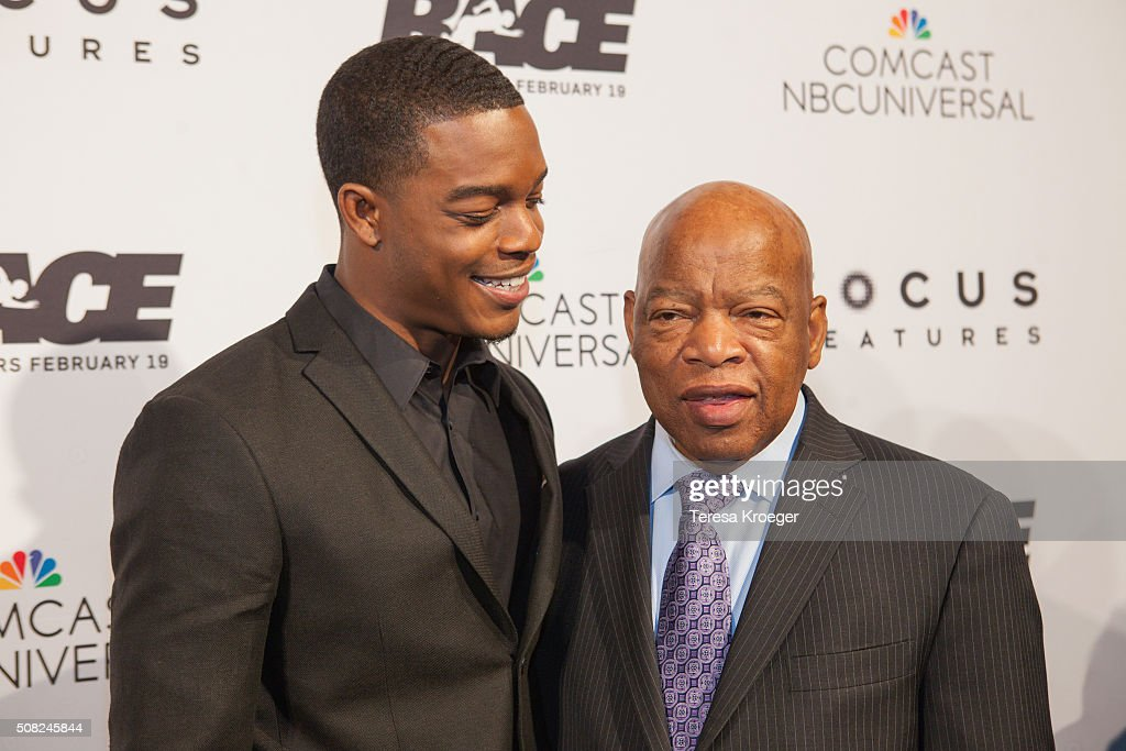 Actor Stephan James (L) and Rep. John Lewis (D-GA) attend the Washington, DC premiere of 'Race' at The Newseum on February 3, 2016 in Washington, DC.
