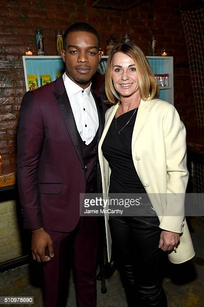 Actor Stephan James and US Olympian Nadia Comaneci attend 'Race' New York Screening after party at Macondo East on February 17 2016 in New York City