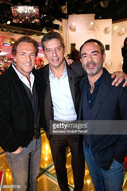 Actor Stephane Freiss Main Guest of the show Doctor Michel Cymes and actor Bruno Solo attend the 'Vivement Dimanche' French TV Show at Pavillon...