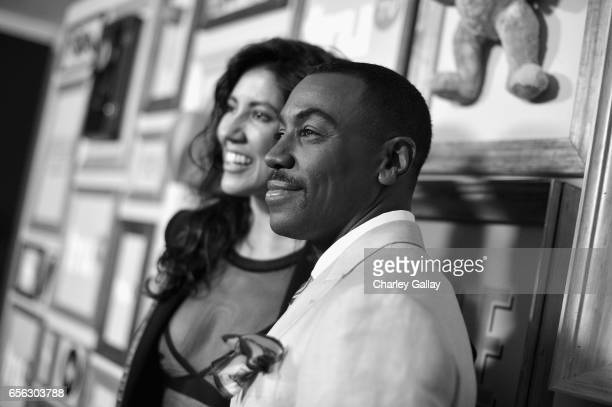 Actor Stephanie Beatriz and Creator/Host Prentice Penny at truTV's 'Upscale with Prentice Penny' Premiere at The London Hotel on March 21 2017 in...