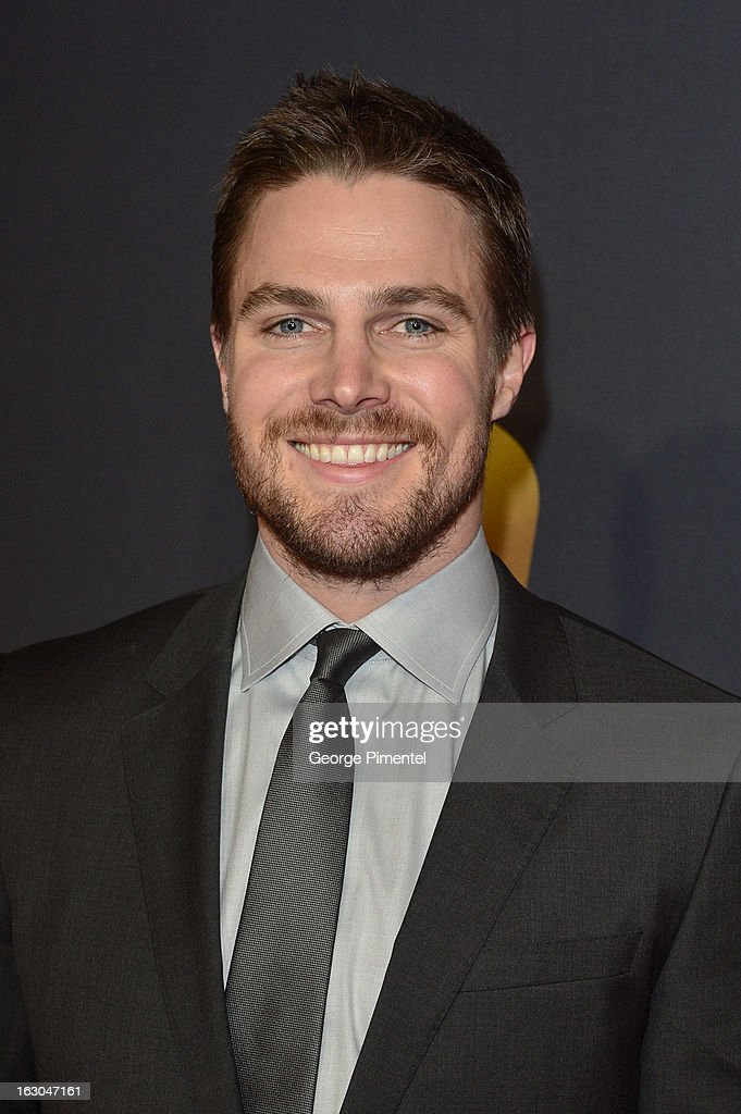 Actor <a gi-track='captionPersonalityLinkClicked' href=/galleries/search?phrase=Stephen+Amell&family=editorial&specificpeople=4500297 ng-click='$event.stopPropagation()'>Stephen Amell</a> arrives at the Canadian Screen Awards at the Sony Centre for the Performing Arts on March 3, 2013 in Toronto, Canada.