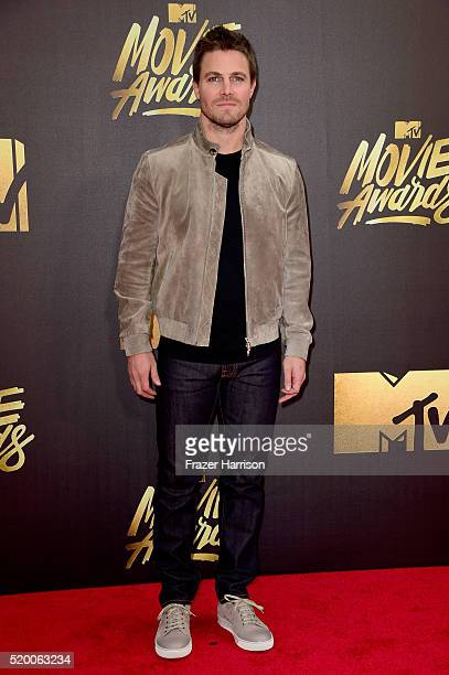 Actor Stephen Amell attends the 2016 MTV Movie Awards at Warner Bros Studios on April 9 2016 in Burbank California MTV Movie Awards airs April 10...
