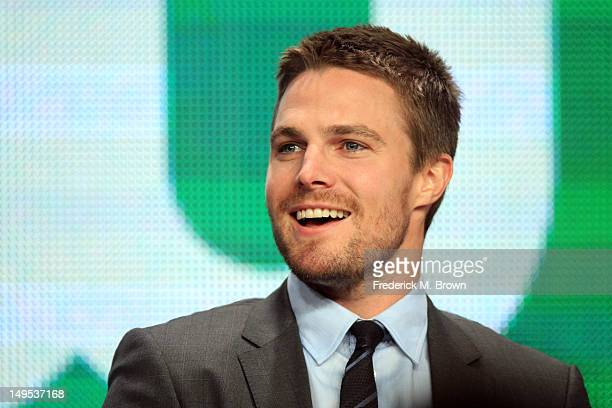 Actor Stephen Amell speaks at the 'Arrow' discussion panel during the CW portion of the 2012 Summer Television Critics Association tour at the...