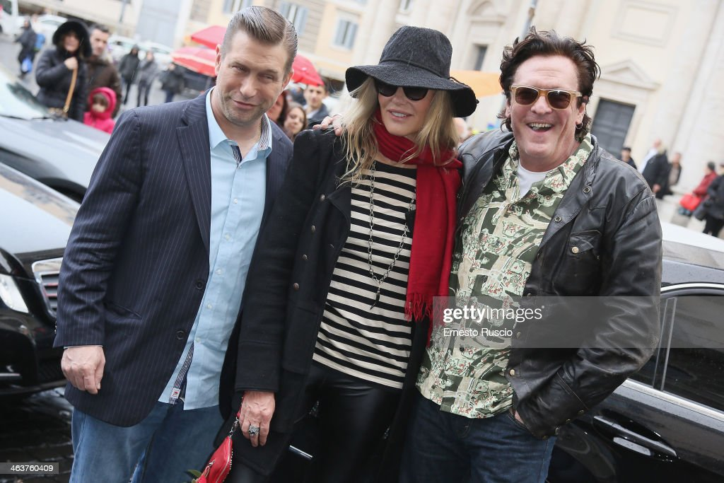 Actor Stephen Baldwin actress Daryl Hannah and actor Michael Madsen sighting at Piazza Del Popolo on January 19 2014 in Rome Italy